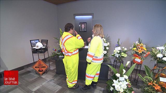 Les funérailles d'un signaleur routier