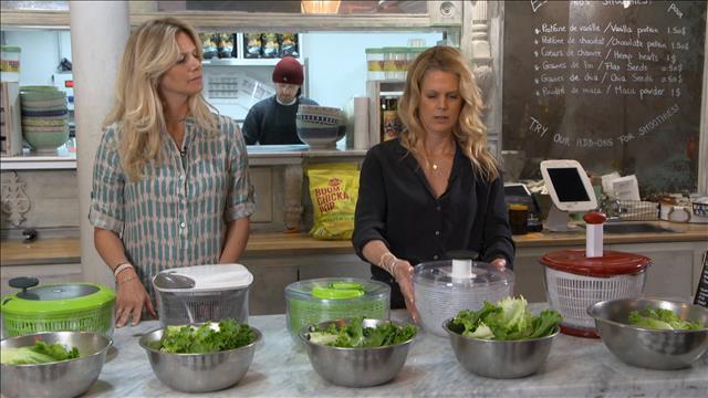 Un banc d'essai d'essoreuses à salade
