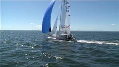 Des voiliers font la course dans la baie des Chaleurs