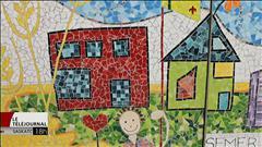 Des élèves de Zenon Park ont créé une grande mosaïque