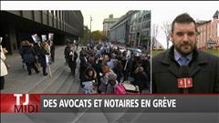 Des avocats et notaire en grève