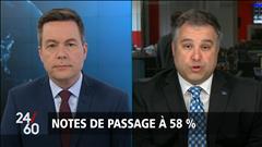 Notes de passage à 58 %