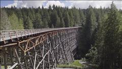 Le sentier à Shawnigan Lake passe sur le plus long pont sur chevalets du Canada