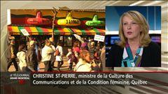 Les réactions de la ministre Christine St-Pierre, en entrevue au Téléjournal