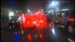 Ils étaient peu nombreux à participer à la manifestation nocturne, rapporte Louis-Philippe Ouimet.
