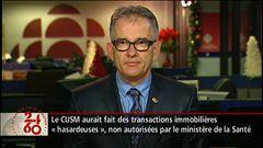 Entrevue avec le directeur des affaires publiques et planification stratégiques du CUSM, Richard Fahey, puis avec le ministre de la Santé, Réjean Hébert
