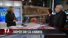 Débat sur la charte entre Djemila Benhabib, membre du Rassemblement pour la laïcité, et Michel Seymour, signataire du manifeste pour un Québec inclusif