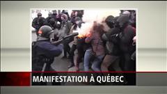 Une manifestante blessée à Québec