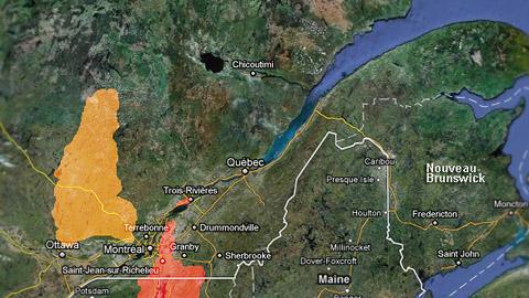 En rouge : les zones à risque d'inondation. En jaune: les zones à risque de fortes crues. En date du 10 mai.
