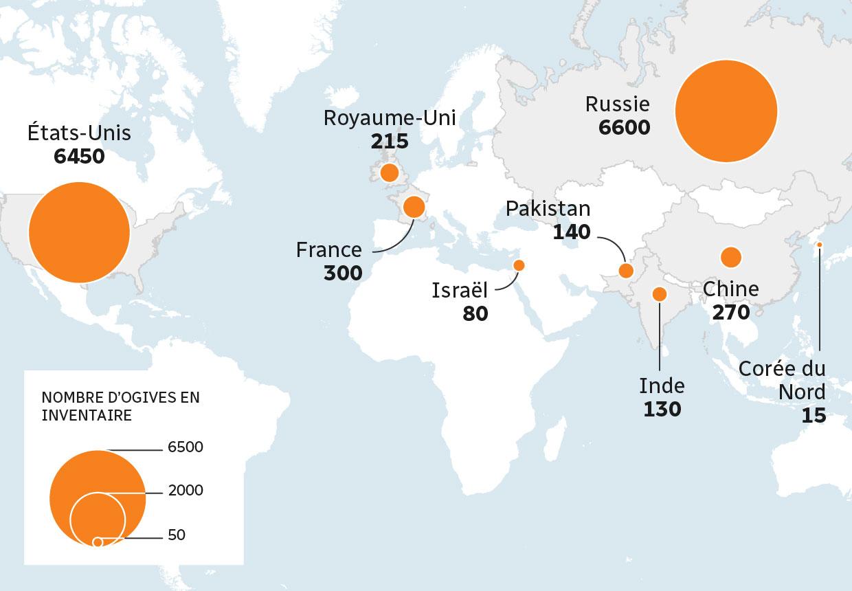 Carte de l'inventaire d'ogives nucléaires dans le monde en 2018.